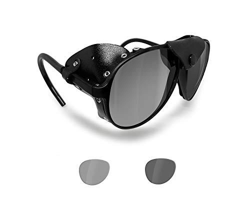 BERTONI Polarisierte Sonnenbrille Bergbrille Gletscherbrille Bergsteigerbrille Skibrille Trekking mod. ALPS Italy (Schwarz - Selbsttönend Polarisierte)
