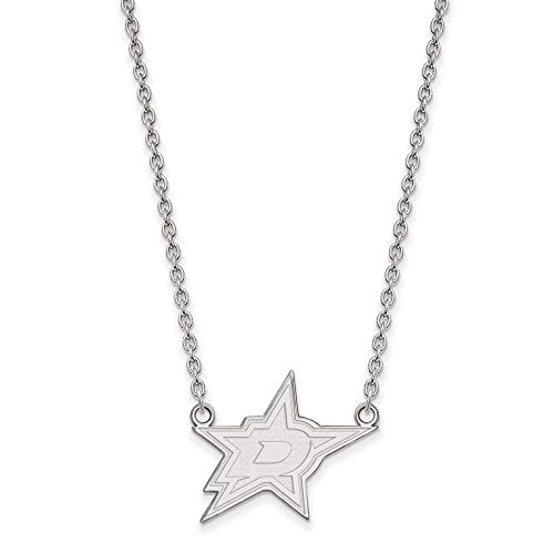 LogoArt Sterling Silver NHL Dallas Stars Large Necklace, 18 Inch