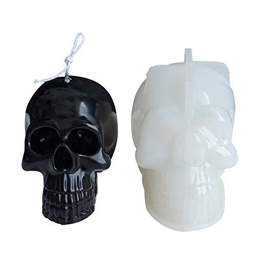Seatechlogy Totenkopf Silikonform 3D Schädel Muffinform Kuchenform Kerzenform Schokoladenform Backform für Halloween Und Osterkerzenform