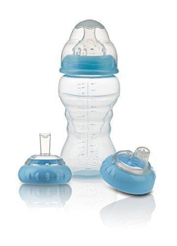 Nuby 3Stage Flasche zum Becher Set geeignet ab 0m + BPA-frei (blau)