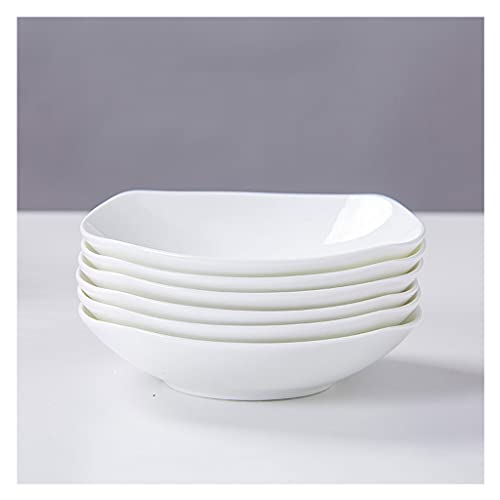 Platos llanos Placas de cena de Pocelain Conjunto de 6 Cocina Juego de vajillas para platos Placas de aperitivo Ensalada y platos de postre Microondas Horno y lavavajillas Caja fuerte (blanco) Platos