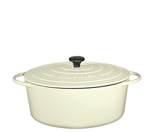 Küchenprofi Bratentopf, 35cm Creme Provence Gusseisentopf 35 cm, Schmortopf oval, Gusseisen emailliert