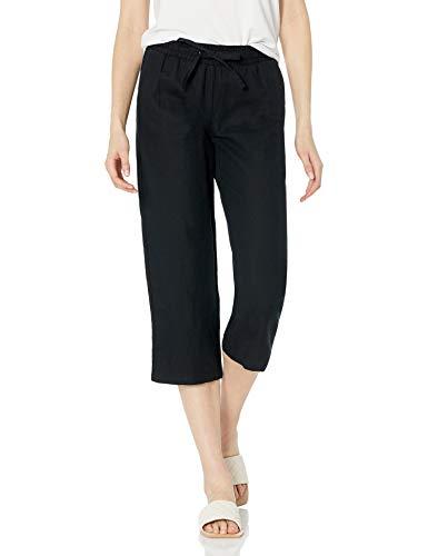 Amazon Essentials Women's Linen Blend Drawstring Crop Pant, Black, X-Large