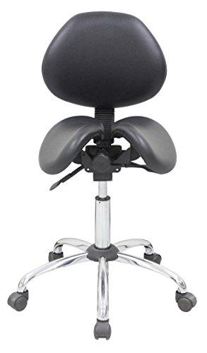 Kanewell Twin Adjustable Saddle Stool with Backrest, Leather (Medium)