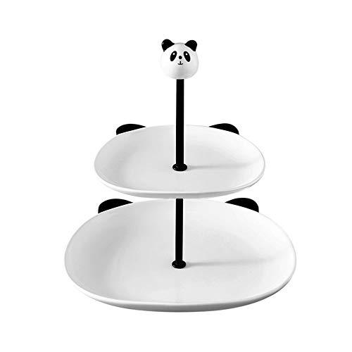 Lwieui Cerámica Soporte de la Torta Nivel 2 Soporte Porcelana porción Disco de la Fruta for el cumpleaños hogar de la Boda de la Torta de cerámica Puesto de Pasteles (Color : White, Size : One Size)