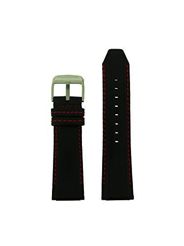 Festina Uhrband LB-F16489/5 Ersatzband Uhren-Armband Leder 25 mm schwarz rot