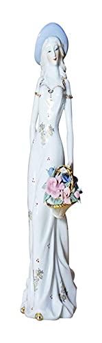 LIXBD Figura de porcelana elegante señora estatuilla mujeres escritorio ornamento para el hogar restaurante mesa decoración