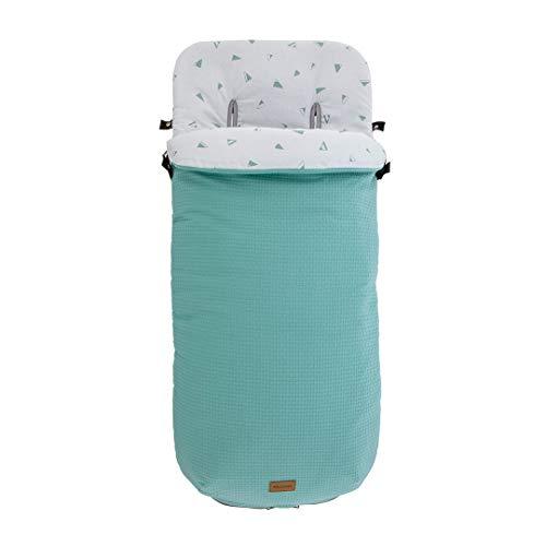 Kiwisac Saco de Entretiempo Universal \Sweet Mint\ para Carro de Bebe con Cremallera Lateral Saco Silla de Paseo Color Menta 94x45 cm