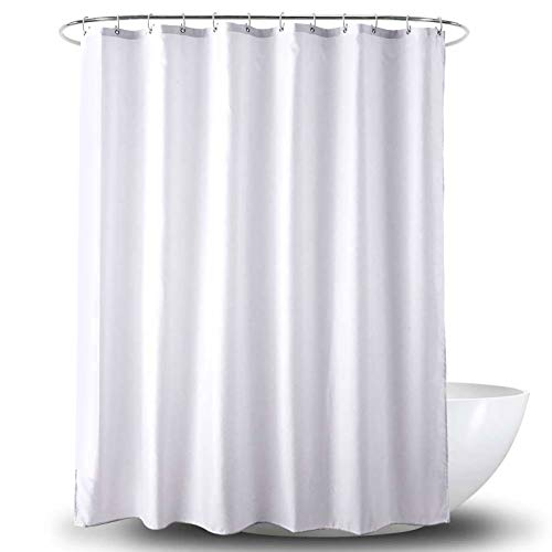 Amanda Duschvorhang Textil Badewannenvorhang 120/180 / 240 x 200 cm inkl Ringe (240x200cm, White)