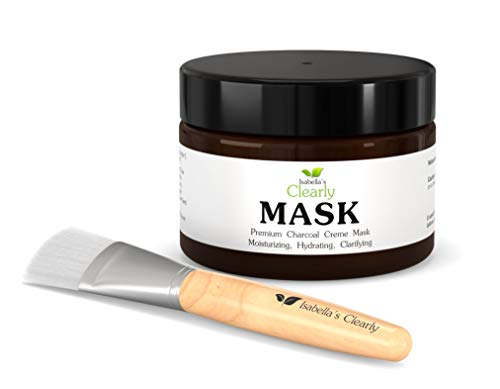 Clearly MASK with Charcoal Hydrates, Clarifies Skin. Blackhead Remover, Deep Pore Cleansing. Anti Aging Hyaluronic Acid, Antioxidant Rich Rooibos, Toning DMAE, Vitamins C, E, B5. Natural and Organic. Free Brush.