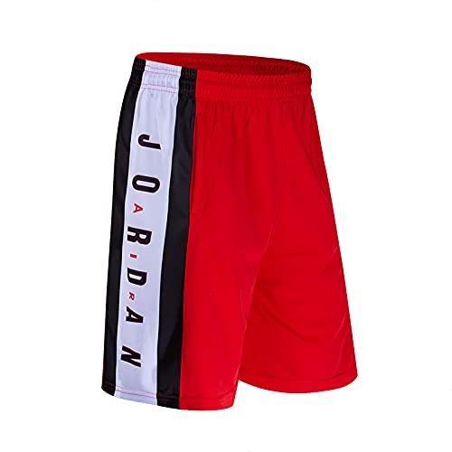 THDB JǒRDǎN Trapeze Shorts Series, Baloncesto al Aire Libre para Hombres, Playa, Fitness, Entrenamiento de Competencia, Pantalones Cortos veran Red-S