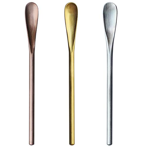 5 inch 3 pcs 304 Stainless Steel Coffee Stir Sticks Cocktail Spoons Beverage/Drink Stir Spoons Tea Spoon with Short Handle Spoon…