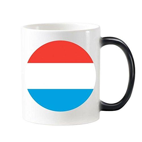 Luxemburg National Flagge Europa Country Symbol Mark r& Muster 'wärmeempfindliche Farbwechsel Farbe Tasse Milch Kaffee mit Handgriffe 350ml
