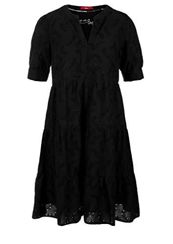 s.Oliver Damen Stufenkleid mit Lochstickerei Black 38