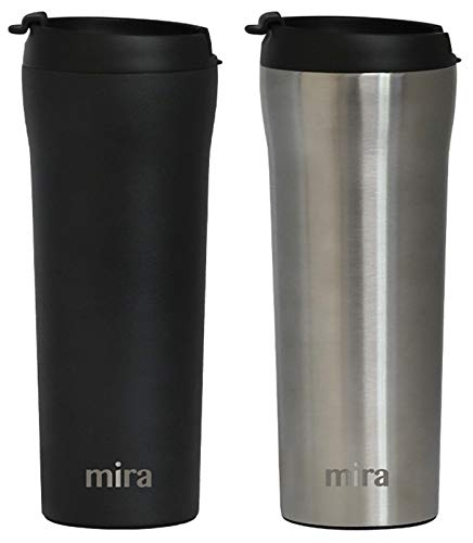 MIRA 16 oz Stainless Steel Insulated Travel Mug with lid  Spill Proof Vacuum Insulated Car Tumbler Cup for Coffee amp Tea  Thermos Keeps Drinks Steaming Hot or Ice Cold  2 Pack