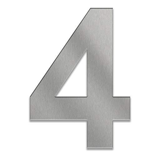 ZALAFINO Hausnummer aus Edelstahl in anthrazit - schwarz - DB703 - Edelstahl natur 0-9 und a-d - Größe konfigurierbar im XXL DESIGN Straight (30 cm, 4)