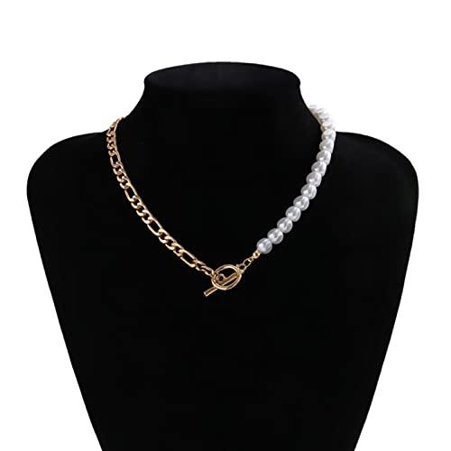 SALAN Collar Bohemio con Colgante De Perlas De Imitación En Forma De Lágrima para Mujer, Gargantilla con Cadena De Perlas De Hip Hop, Collar, Joyería, Regalos