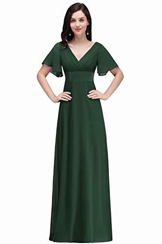 MisShow langes Abendkleid Hohe Taille Mit Ärmel Cocktailkleid Elegant Für Hochzeit