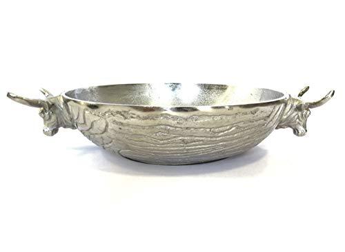 Colmore Schale Stierkopf Silber Metall Deko Weihnachten Bullenkopf 40 cm