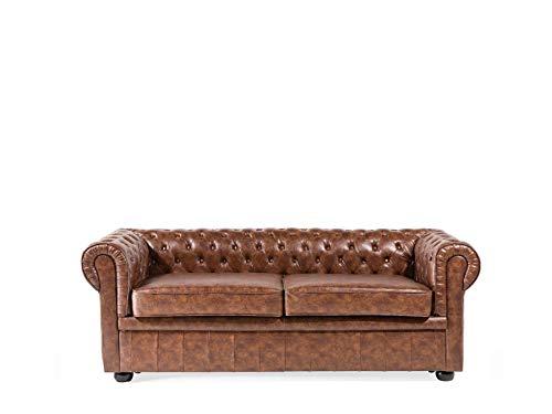 Beliani Stilvolles Sofa im englischen Stil Kunstleder Goldbraun Chesterfield
