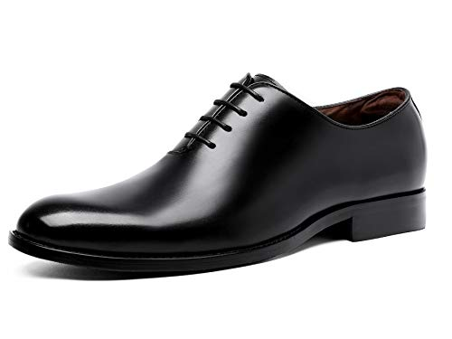 DESAI Oxford Mens Dress Shoes Formal Business Lace-up Full Grain Leather Minimalist Shoes for Men(10 M US,Black)