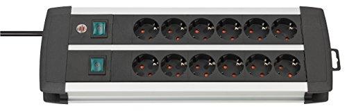 Brennenstuhl Premium-Alu-Line, Steckdosenleiste 12-fach / Steckerleiste aus hochwertigem Aluminium (mit 2 Schaltern für je 6 Steckdosen und 3m Kabel, Made in Germany) silber/schwarz