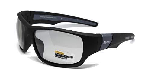 LePirate Walker Gafas de Sol polarizadas y fotocromáticas (Negro Gris Fotocromático Cat 2-4)