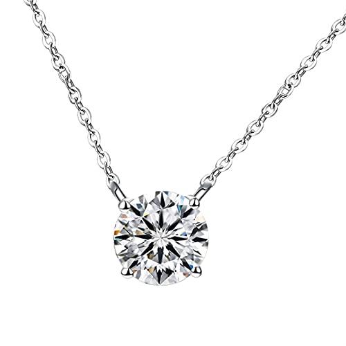 Collar de Diamantes para Mujer Colgante 925 Plata (Color : 1)