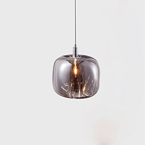 Lámpara colgante de una sola cabeza simple post-moderna, gris creative Dormitorio ámbar de la cama de la cama de la cama de la cama de la cabecera de la cabina del bar restaurante del cristal Lámparas