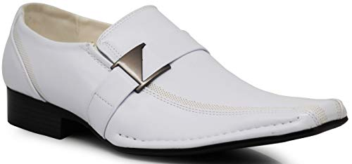Enzo Romeo Stone Men's Dress Loafers Elastic Slip on with Buckle Fashion Shoes Runs Half Size Big (10, White)