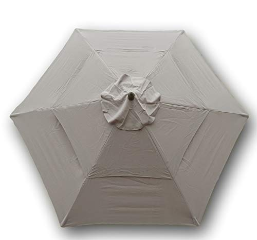 Formosa Covers Double Vented 9ft Umbrella Replacement Canopy 6 Ribs in Taupe (Canopy Only)