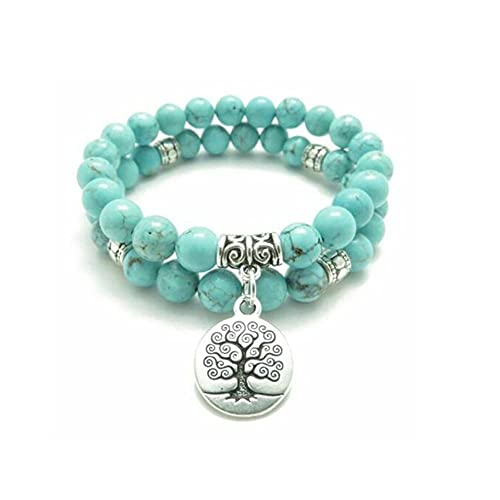 SDASD 2 Sets Natural Turquoise Tree of Life Pendant Bracelet Lucky Wrist Yoga Pray, Two-Piece Suit 8Mm Turquoise Beads Lucky Wealth Gelang Bracelets, for Lady Men