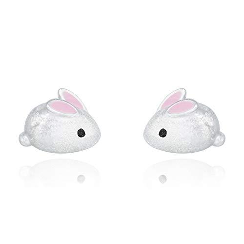 GALBLA Pendientes de tuerca para mujer, de plata de ley 925, diseño de conejos pequeños