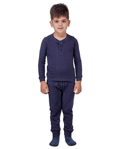 Artic Pole 2-Piece Boys Thermal Long Underwear Set – Base Layer Set for Cold Weather, Bedtime – Fitted Pajamas for Boys (Navy with Buttons, 7/8)