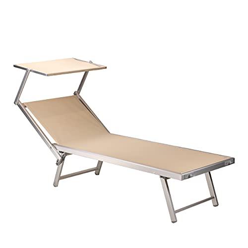 Totò Piccinni Salento Lettino Prendisole Pieghevole in Alluminio con TETTUCCIO Mare Spiaggia Piscina Giardino (Sabbia)