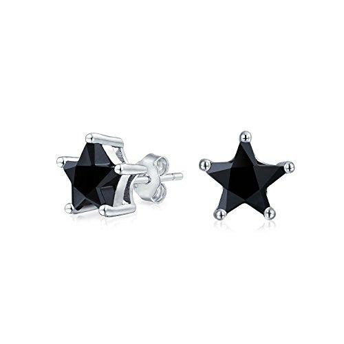 Cubic Zirconia Negro CZ Celestial EE.UU. Patriotic Rock Star Pendientes para Mujeres Para Hombres Mujeres 925 Plata esterlina 6MM