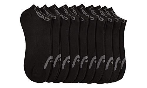 Head Mens Ankle Athletic Sport Socks 10-Pack (Solid Black)