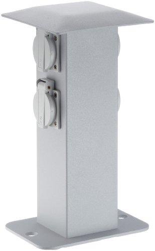 MCJ KON4G/AL stopcontactzuil IP44 zonder aarde, 4 SCHUKO-stopcontacten, zilvergrijs