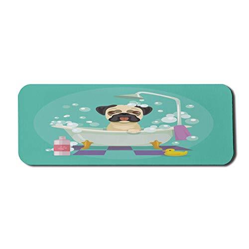Cartoon Computer Mauspad, Mops Hund in der Badewanne Pflege Salon Service Shampoo Gummiente Haustiere im Stil Bild, Rechteck rutschfeste Gummi Mousepad große blaugrün