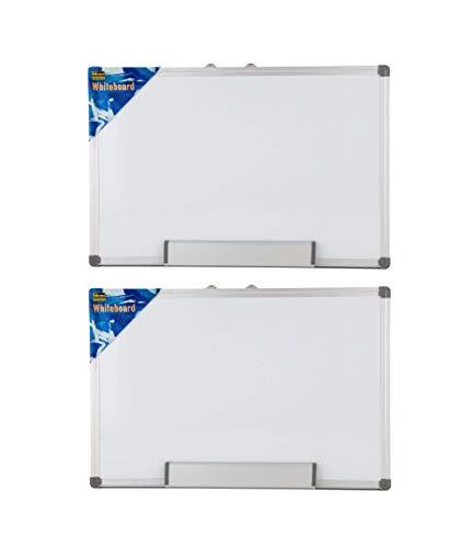 Idena 568024 - Whiteboard, 40 x 30 cm, mit Aluminiumrahmen und Stiftablage (2 Stück 40x30 cm)