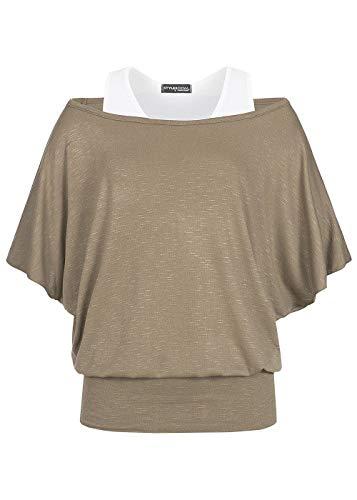 Styleboom Fashion® Damen Top 2in1 Fledermaus Shirt Fango braun, Gr:S