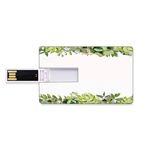 16 GB USB Flash Thumb Drives Succulent Bank Credit Card Shape Business Key U Disk Memory Stick Storage Cactus Flower Garden Green Fern Seasonal Branch and Leaves Frame Borders Decorative,Green Light G