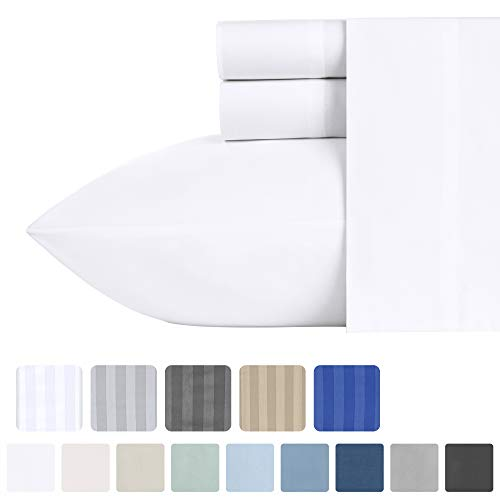500-Thread-Count 100% Cotton Sheet Pure White Queen-Sheets Set, 4-Piece Extra Long-staple Combed Cotton Best-Bedding Sheets For Bed, Soft & Silky Sateen Weave Fits Mattress 16, Deep Pocket