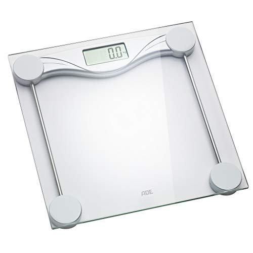 ADE Digitale Personenwaage BE 1510 Olivia (Transparente Wiegefläche aus Sicherheitsglas, präzise Gewichtsbestimmung bis 180 kg, LCD-Display, inklusive Batterie) silber