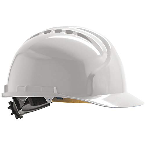 JSP Casco de protección industrial de alta temperatura, MK7 EN 397, cierre deslizante, color blanco 🔥