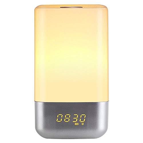 Ayanx LED-wekker Digitale tafelklokken Licht Snooze Zonsopgang Zonsondergang Natuur Wakker worden Kleurrijke sfeerverlichting Maanlicht Wit 12,5 cm * 12,5 cm * 23,5 cm