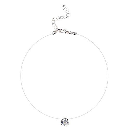 Emorias 1 Pcs Collar de Zircon Línea de Pesca Cadena Clavicular Aleación Colgante de Mujer de Moda Joyería Accesorios - Color Transparente 1