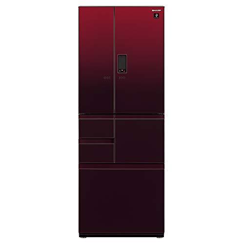シャープ SHARP プラズマクラスター冷蔵庫(幅68.5cm) 551L ガラスドア/電動フレンチドア(観音開き) メガフリーザー 6ドア グラデーションレッド SJ-GX55E-R
