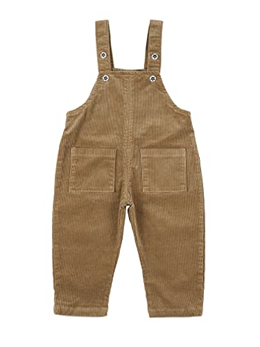 JEATHA Baby Boys Girls Knit Overalls Sleeveless Straps Corduroy Romper Basic Plain Cargo Pants with Pockets Brown 2-3 Years
