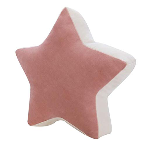 Fenteer Soft Cute Kids Star Moon Cushion Pillow Plush Toy Baby Room Bedroom Office Car Sofa Decor Gift, Stuffing: PP Cotton; Surface fabric: .Short Plush - Pink Star